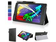 Evecase Lenovo Tab 2 A7-30 Case, SlimBook Leather Folio Stand Case Cover with Magnetic Closure for Lenovo Tab 2 A7-30 (A3300) 7'' 2015 2 Gen Android 4.4 Tablet - Black