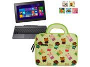 Evecase Asus Transformer Book T100/ T100TAF/ T100T/ T100TA/ T100TAL/ T100TAM Tablet Laptop Sleeve Case, Cute Themed Neoprene Carrying Case Bag w/ Dual Handle and Accessory Pocket- Yellow w/ Green Trim