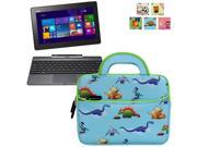 Evecase Asus Transformer Book T100/ T100TAF/ T100T/ T100TA/ T100TAL/ T100TAM Tablet Laptop Sleeve Case, Cute Themed Neoprene Carrying Case Bag w/ Dual Handle and Accessory Pocket- Blue w/ Green Trim