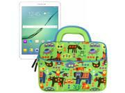 Evecase Samsung Galaxy Tab S2 / Galaxy Tab A 8.0 Inch Tablet Sleeve Case, Cute Dinosaurs Themed Neoprene Travel Carrying Slim Bag w/ Dual Handle and Accessory Pocket- Green w/ Blue Trim