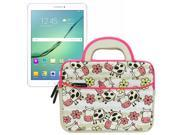 Evecase Samsung Galaxy Tab S2 / Galaxy Tab A 8.0 Inch Tablet Sleeve Case, Cute Dinosaurs Themed Neoprene Travel Carrying Slim Bag w/ Dual Handle and Accessory Pocket- White w/ Pink Trim