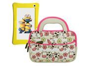 Evecase Minion WinTAB 7 Inch Touchscreen Tablet Sleeve Case, Cute Happy Farm Cow Themed Neoprene Travel Carrying Slim Bag w/ Dual Handle and Accessory Pocket - White w/ Pink Trim