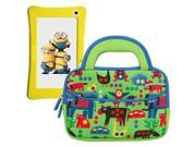 Evecase Minion WinTAB 7 Inch Touchscreen Tablet Sleeve Case, Cute Zoo Animal Themed Neoprene Travel Carrying Slim Bag w/ Dual Handle and Accessory Pocket - Green w/ Blue Trim