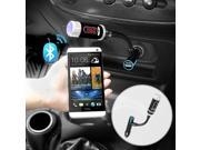 iKross Multifunction LED Car FM Radio Stereo Transfmitter with Bluetooth Handsfree calling and charging port for SmartPhone, iPhone, Tablets and more