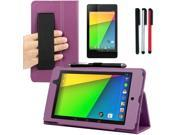 BIRUGEAR Auto Sleep/Wake HandStrap Leather Folio Case with Screen Protector. Stylus Pack for Google Nexus 7 FHD - 7'' Nexus 7 II / 2nd Generation 2013 Android Tablet ( Purple Case)