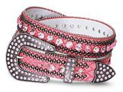 """Crystal Lined Studded Genuine Leather Belt-Color : Pink - Width: 1.2"""" , Size : Small/Medium/Large (33.5""""-38"""",37""""-43"""").Overall Length :47"""""""