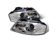 CG AUDI A3 06-09 PROJECTOR HEADLIGHT CHROME CLEAR(R8 LED STYLE) 02-AZ-AA306-PCC PAIR