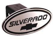 "Defenderworx Silverado Black w/ Black Bowtie Oval 2"" Billet Hitch Cover 37005"