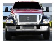 T-REX 2004-2009 Ford F650 X-METAL Series - Studded Main Grille - Polished SS - 4 Pc Custom (Cut Center Bars) - Includes Bumper Center Mesh POLISHED 6715410