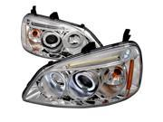 Spec-D Tuning 2LHP-CV01-TM Halo LED Projector Headlight for 01 to 03 Honda Civic- Chrome - 10 x 20 x 24 in.