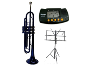MERANO B Flat Blue Trumpet with Case MouthPiece Oil Golves Free Music Stand Metro Tuner