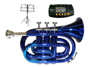 MERANO B Flat Blue Pocket Trumpet with Case,MouthPiece,Oil,Golves+Free Music Stand,Metro Tuner