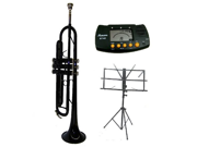 MERANOB Flat Black Trumpet with Case MouthPiece Oil Golves Free Music Stand Metro Tuner