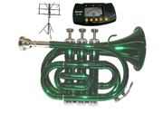 MERANO B Flat Green Pocket Trumpet with Case MouthPiece Oil Golves Free Music Stand Metro Tuner
