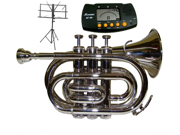 MERANO B Flat Silver Pocket Trumpet with Case MouthPiece Oil Golves Free Music Stand Metro Tuner
