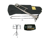 MERANO B Flat Silver Slide Trombone with Case MouthPiece Oil Golves Free Music Stand Metro Tuner