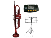 MERANO B Flat Red Trumpet with Case,MouthPiece,Oil,Golves+Free Music Stand,Metro Tuner