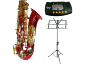 Merano E Flat Red Alto Saxophone with Case+Metro Tuner+Music Stand+11 Reeds
