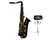 Merano B Flat Black Tenor Saxophone with Case+Metro Tuner+Music Stand+11 Reeds