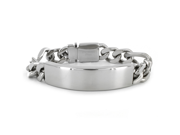 Mens Engraveable Stainless Steel ID Bracelet with Hidden Clasp