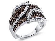 Brown Chocolate Diamond Ring Womens Band 10k White Gold (1.00 Carat)