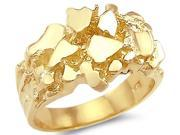 Men's Nugget Ring 14k Yellow Gold Pinky Ring Band