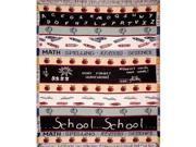 School Theme Math Science Crayons Apples Afghan Throw Blanket 50 x