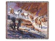Western Cowboy Herding Horses Tapestry Throw Item #TPM742 Bright desert colors and western themes make up this rugged tapestry throw designed by Mikki Senkarik.  Several wild horses are herded along a narrow western trail by a hardworking cowboy on horseback. Approximate measurements: 50 x 60 Material(s): 100% cotton  Washing Instructions: Machine wash cold/tumble dry low Made in the USA Type: Blankets and Throws Color: Multi-Color
