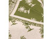 Avocado Castaway Eco2Cotton Afghan Throw Blanket Item #5074-29 Features an all-over  reversible palm tree pattern Eco2cotton story: Eco2cotton offers a sustainable option for many consumer and industrial products. The regenerated fibers retain the color of the original recycled t-shirt or garment  so less dyes and harmful chemicals pollute our planet. Approximate measurements: 50 x 60 Material(s): Eco2Cotton Washing instructions: Machine wash cold.  Tumble dry. Made in the USA Type: Blankets and Throws Color: Green