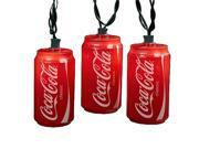 Set of 10 Blow Mold Classic Coca Cola Can Party Christmas Lights Green Wire