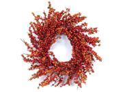 Pack of 2 Fall Harvest Artificial Orange Berry Decorative Wreaths 24