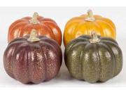 Pack of 12 Fall Harvest Green, Yellow, Orange & Burgundy Decorative Pumpkin 3.5