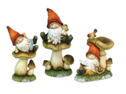 Set of 3 Meadow's Dream Whimsical Garden Gnomes with Mushrooms Outdoor Statues