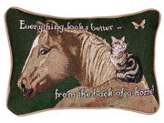 """Set of 2 Horse Cat Decorative Throw Pillows 9"""" x 12"""""""