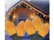 """Set of 25 Opaque Gamboge Orange C7 Christmas Lights 11"""" Spacing - Green Wire"""