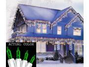 Set of 100 Green Everglow Icicle Christmas Lights - White Wire