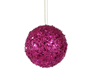 Club Pack of 12 Fuschia Holographic Glitter Drenched Christmas Ball Ornaments 4.75""