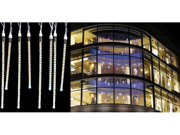 Set of 8 LED Polar White Dripping Icicle Christmas Lights - White Wire