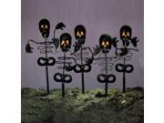 Set of 5 Black Metal Skeleton Halloween Lawn Yard Stakes with Orange Lights