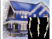 Set of 105 Warm White LED Cascading Mini Icicle Christmas Lights - White Wire