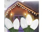 Set Of 25 Ceramic White C7 Christmas Lights With Green Wire