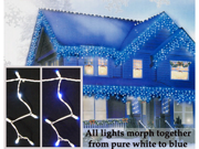 Set of 100 LED Blue/Pure White Color Changing Wide Angle Icicle Christmas Lights