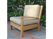 """35"""" Natural Teak Sectional Left Seating Outdoor Patio Chair w/ Brown Cushions"""