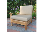 """35"""" Natural Teak Sectional Right Arm Seating Outdoor Chair with Canvas Cushions"""