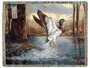 """Jump Start"" Mallard Duck Tapestry Throw Blanket 70"" x 50"""