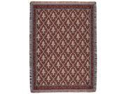 """Red Traditional Fleur De Lis Pattern Tapestry Throw Blanket 50"""" x 70"""""""