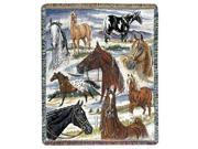 """Horse Sense Horse Pictorial Tapestry Throw 50"""" x 60"""""""