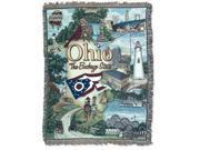 "Ohio ""The Buckeye State"" Tapestry Throw Blanket 50"" x 60"""
