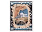"""Nubble Maine Lighthouse Colorful Tapestry Throw Blanket 50"""" x 60"""""""