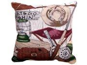 """Let's Go Fishing"" Decorative Accent Throw Pillow 17"" x 17"""